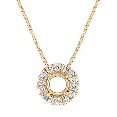 Diamond Halo Pendant with Pave Setting (18 in.)