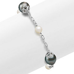 10mm Cultured Tahitian Pearl and 6mm Cultured Freshwater Pearl Bracelet in Sterling Silver (7.5 in.)