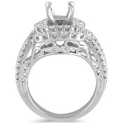 Split Shank Double Halo Vintage Diamond Engagement Ring