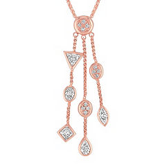 Fancy Shaped Diamond Pendant in Rose Gold (18 in.)