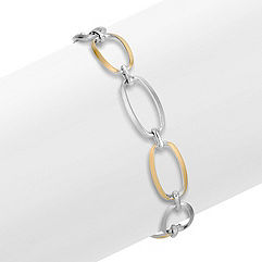 Sterling Silver and Yellow Sterling Silver Link Bracelet (7.5 in.)