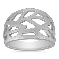 Leaf Ring in Sterling Silver with Brushed Finish