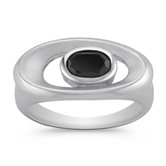 Oval Black Agate and Sterling Silver Ring