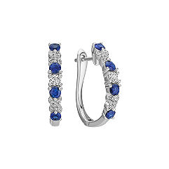Sapphire and Diamond Hoop Earrings