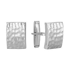 Sterling Silver Cuff Links with Hammered Finish