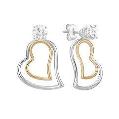14k Two-Tone Gold Heart Earring Jackets