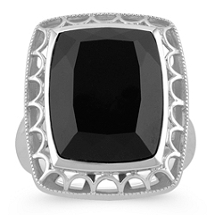 Emerald Cut Black Agate and Sterling Silver Ring