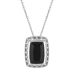 Emerald Cut Black Agate and Sterling Silver Pendant (18 in.)
