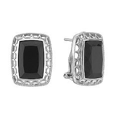 Emerald Cut Black Agate and Sterling Silver Earrings