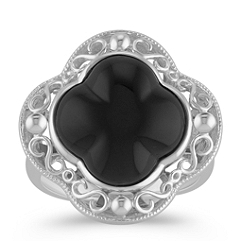 Black Agate and Sterling Silver Clover Ring