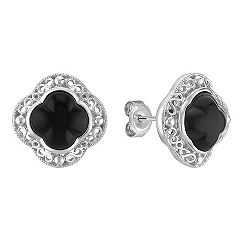 Black Agate and Sterling Silver Clover Earrings