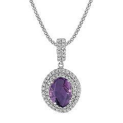 Freeform Lavender Sapphire and Diamond Pendant (22 in.)