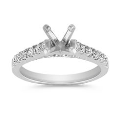 Classic Platinum Diamond Cathedral Engagement Ring with Pave Setting