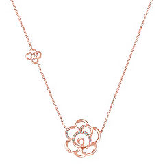 Round Diamond Flower Necklace in Rose Gold (18 in.)