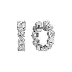Diamond Hoop Earrings with Bezel Setting