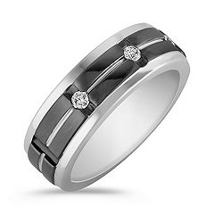 Round Diamond Engraved Ring with Black Ruthenium and Channel Setting (8mm)