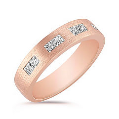 Princess Cut Diamond Ring with Satin Finish and Channel Setting