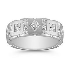 Contemporary Princess Cut Diamond Ring with Bezel and Channel Setting