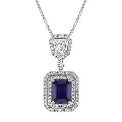 Emerald Cut Lavender Sapphire, Shield Shaped and Round Diamond Pendant (18 in.)