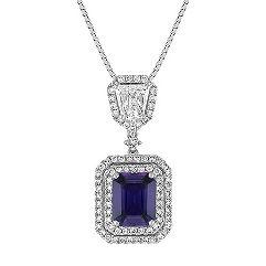Emerald Cut Lavender Sapphire, Shield Shaped and Round Diamond Pendant (18 in.)