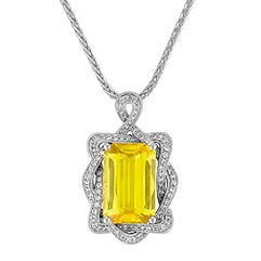 Emerald Cut Yellow Sapphire and Diamond Pendant (18 in.)
