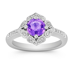 Vintage Lavender Sapphire and Diamond Ring