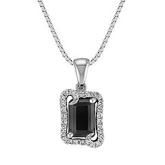 Emerald Cut Black Sapphire and Round Diamond Halo Pendant (18 in.)