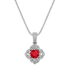 Vintage Ruby and Diamond Pendant in Kite Setting (18 in.)