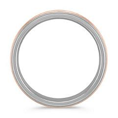 Sterling Silver and 14k Rose Gold Comfort Fit Ring (7mm)