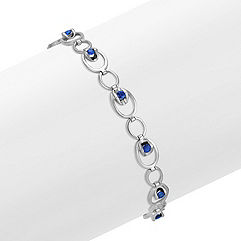 Sapphire Circle Link Bracelet (7.5 in.)