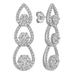 Teardrop Diamond Cluster Dangle Earrings