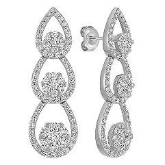 Teardrop Diamond Cluster Dangle Earrings