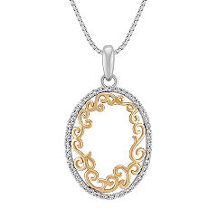 Diamond Oval Pendant in Two-Tone Gold (18 in.)