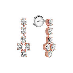 Oval Diamond Dangle Earrings in Rose Gold