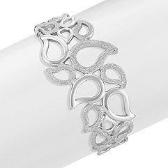 Sterling Silver Bangle Bracelet with Stardust Finish (7 in.)
