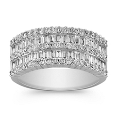 Contemporary Baguette and Round Diamond Ring