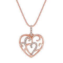 Diamond Heart Pendant in 14k Rose Gold (18 in.)