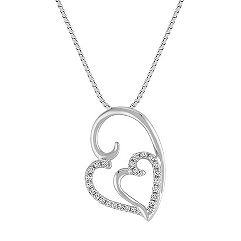 Diamond Double Heart Pendant (18 in.)