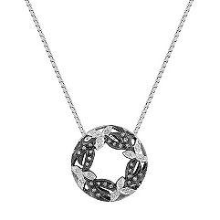 Round Diamond Circle Leaf Pendant with Black Rhodium (18 in.)