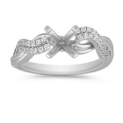 Round Diamond Twist Ring with Pave Setting