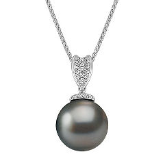 12mm Cultured Tahitian Pearl and Round Diamond Pendant (22 in.)