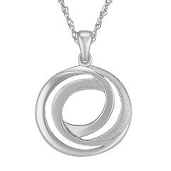 Sterling Silver Swirl Circle Pendant (18 in.)