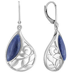 Sodalite and Sterling Silver Leverback Earrings