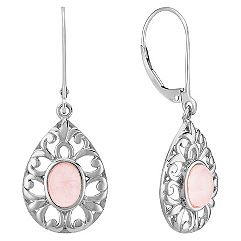 Pink Quartz Sterling Silver Leverback Teardrop Earrings
