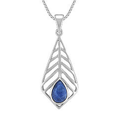 Sodalite and Sterling Silver Contemporary Pendant (20 in.)