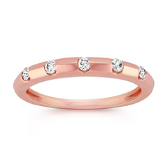Stackable Five Stone Diamond Ring in 14k Rose Gold