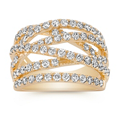 Crisscross Diamond Ring with Pave Setting