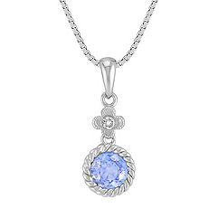 Vintage Round Ice Blue Sapphire and Diamond Pendant with Bezel Setting (18 in.)