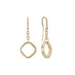 14k Yellow Gold Geometric Dangle Earrings