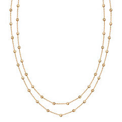 Yellow Sterling Silver Beaded Necklace (58 in.)